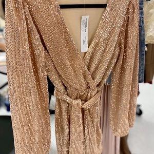 NWTRose gold beaded/ sequin waist tie belted dress